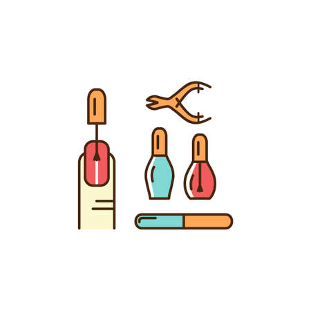 Manicure Icons. Well-groomed hands and nails, nail polish, manicure tools. Thin line art colorful design, Vector outline illustration