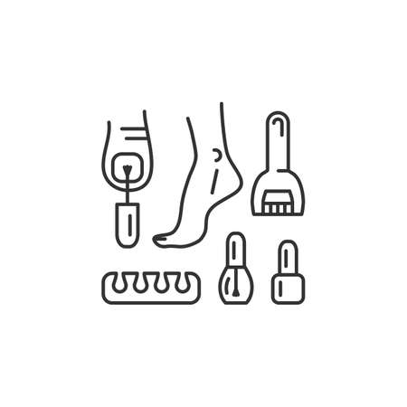 Pedicure line icon. Well-groomed feet, Painted nails, Toe separator, Pedicure roll pumice stone for feet. Vector flat illustration
