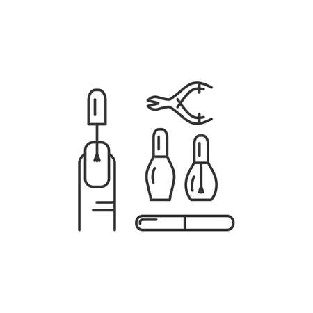 Manicure line icons. Well-groomed hands and nails, nail polish, manicure tools. Vector flat illustration