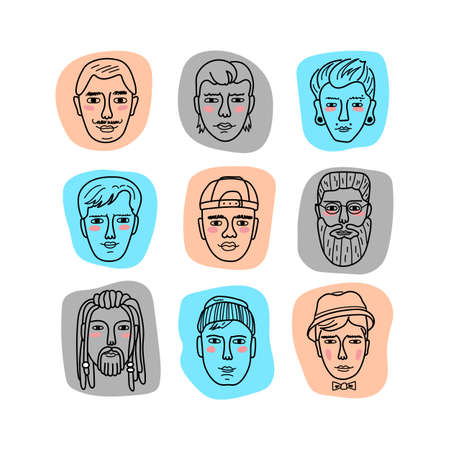 Vector mans faces, Doodle portraits of men Funny avatars. Collection of hand-drawn trendy hipster men. Vector isolated icons