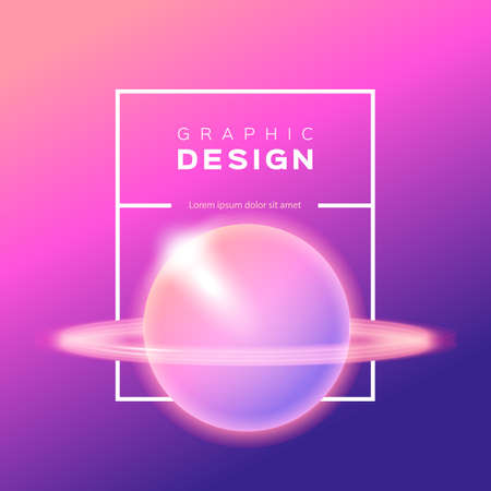 Vector gradient background, Shining abstract planet, Saturn, space, sky. Trendy yellow pink violet ombre background. Vector square blurred illustration
