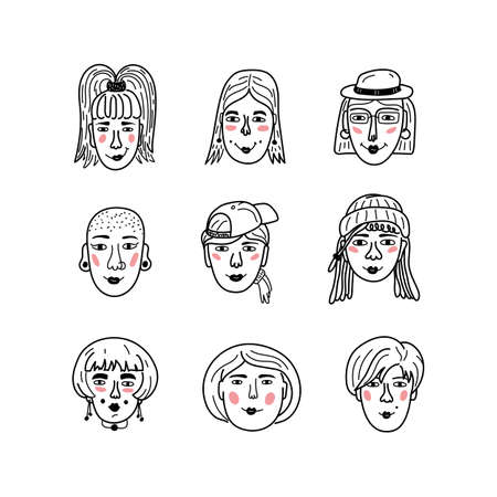 Vector female faces, Doodle portraits of girls. Funny avatars of women, Coloring book. Collection of hand-drawn trendy hipster girls. Vector icons set