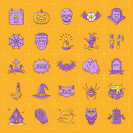 Halloween icon set. Colorful Halloween icons on an orange background. Thin line art design, Vector outline illustration