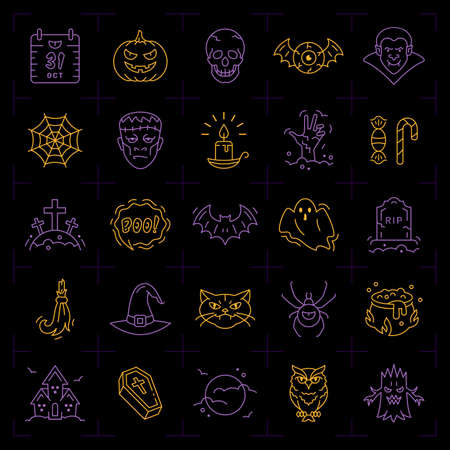 Halloween icon set. Colorful Halloween icons on an black background. Thin line art design, Vector outline illustration Illustration