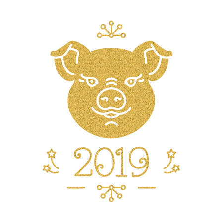 Happy New Year and Christmas card, 2019 year of the pig. Cute golden pig and number 2019 on a white background. Vector illustration