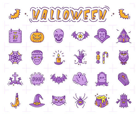 Halloween icon set. Pumpkin, vampire, witch, bat and other Halloween icons. Isolated multicolor Halloween symbols. Vector illustration
