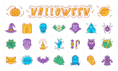 Halloween icon set, Pumpkin, vampire, witch, bat and other Halloween badges. Isolated multicolored bright Halloween symbols. Vector
