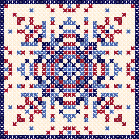 Cross stitch pattern, Scandinavian ornament, Ethnic background, Cushion