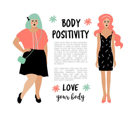 Body Positive card. Model plus size woman and skinny girl, place for text. Bodypositive poster. Vector flat illustration