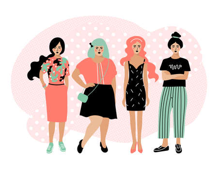 Young fashion women, stylish girls, Female cartoon characters isolated on white background. Plump and slim women. Vector flat illustration