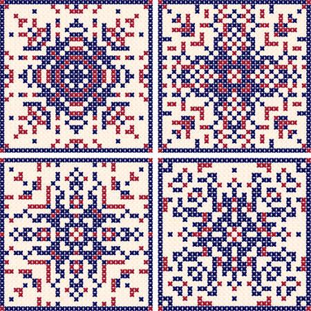 Pattern cross stitch set. Scandinavian patterns, Patterns for embroidery. Red-blue background. Vector illustration