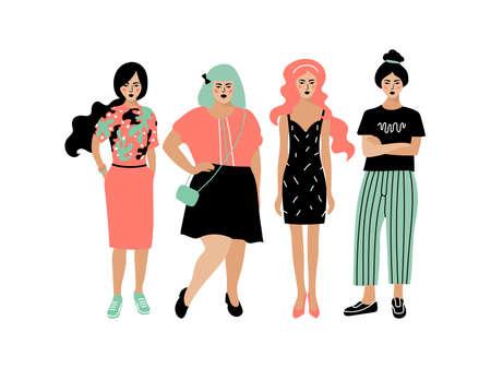 Young fashion women, stylish girls on white background. Plump and slim women, Four women girlfriends, hipster style. Vector flat illustration Illusztráció