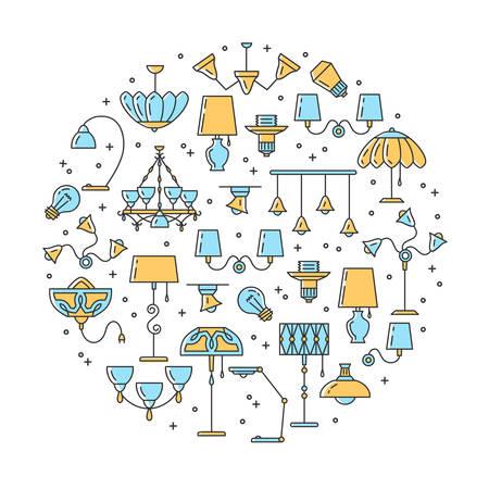 Lighting line icons. Wall lamp, desk lamp, floor lamp, chandelier. Infographics circle composition, Vector flat design Ilustración de vector