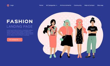 Web page design template for fashion, clothing catalog. Beauty landing page, Clothing store web template. Four young stylish women. Vector flat design