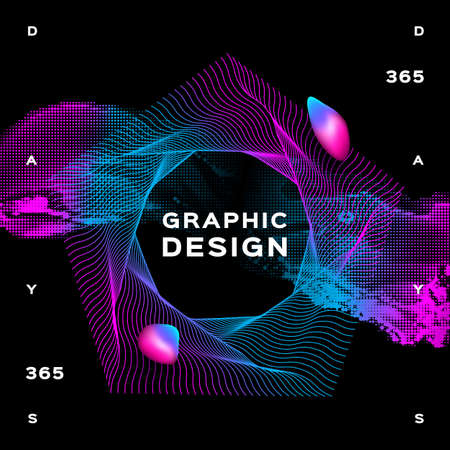 Glowing shapes liquid dynamic flow on black background. Trendy fluid poster design, Gradient futuristic composition. Vector geometric background Eps10