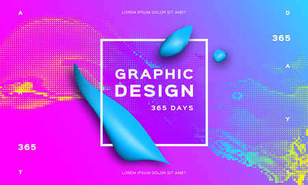 Fluid cover design, Gradient futuristic abstract background. Glowing shapes liquid dynamic flow on trendy gradient background. Vector geometric background Eps10