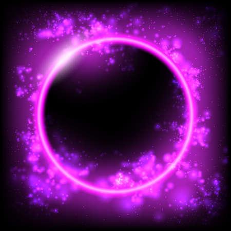 Space background. Planet, Black Hole, Solar eclipse. Futuristic geometric background. Dynamic flow of bright particles. Eps10 Vector illustration Illusztráció