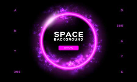 Space background Futuristic Planet. Dynamic flow of bright particles. Trend gradient design for Web page, mobile app or landing page template. Vector Eps10 Illusztráció