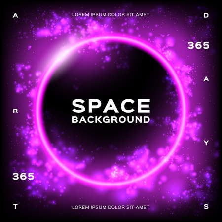 Space background Futuristic Planet. Trendy geometric glowing background. Dynamic flow of bright particles. Eps10 Vector illustration