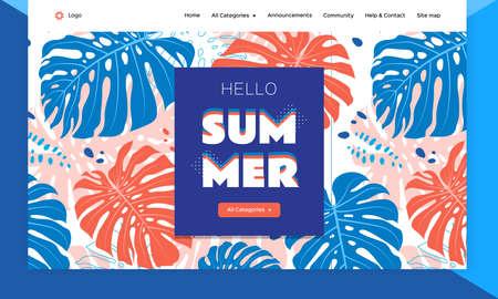 Website template design Tropical leaves background. Product catalog, summer sale banner. Landing page, ui, web, mobile app. Poster, banner, flyer. Vector flat illustration