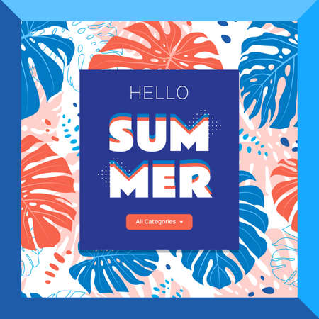 Hello summer web banner, Tropical leaves background. Vector flat illustration Illusztráció
