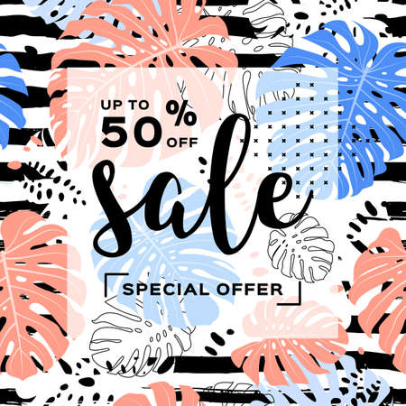 Summer sale template banner, Tropical leaves background Striped seamless pattern. Vector discount poster, travel flyer Illusztráció