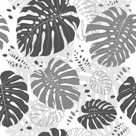 Tropical leaves seamless pattern, Monstera leaf. Vector gray monochrome tropical background Illusztráció