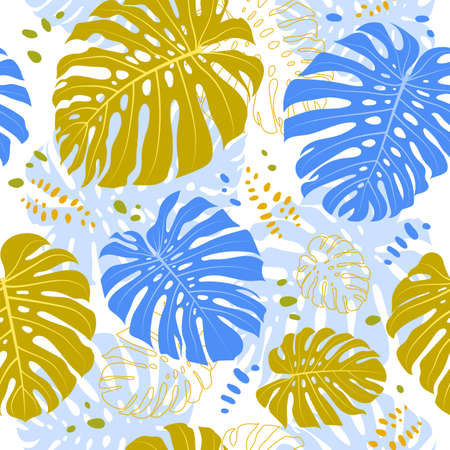 Tropical monstera leaves seamless pattern. Vector tropical seamless background