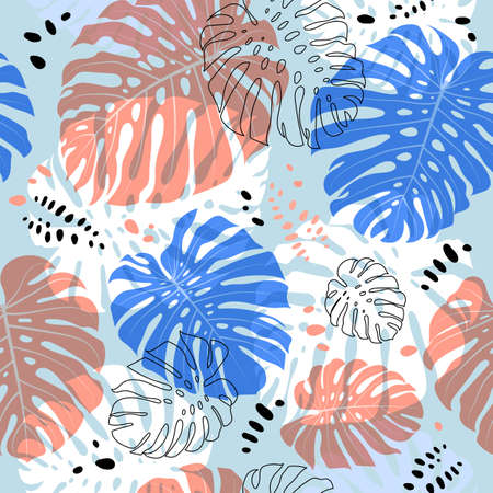 Tropical monstera leaves pattern. Vector tropical leaf seamless background Illusztráció
