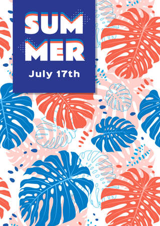 Summer poster Tropical leaves background. Vector flat illustration, A4 size