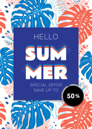 Summer sale template banner, Tropical leaves background A4 size. Vector flat illustration