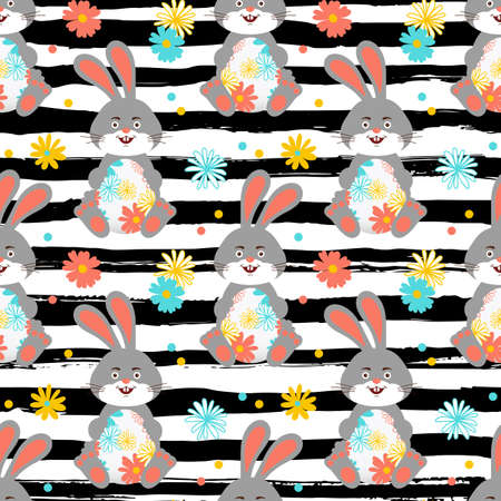 Easter Bunny, Easter pattern seamless. Easter rabbit wallpaper. Trendy striped background all objects are editable, Vector pattern