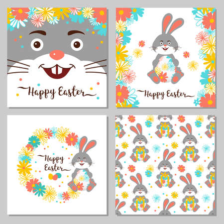 Easter Bunny, Happy Easter greeting cards. Easter cards collection. All objects are editable, Vector illustration