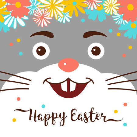 Easter Bunny, Happy Easter Card. Cute rabbit with a wreath on his head, Trendy easter lettering. Vector illustration