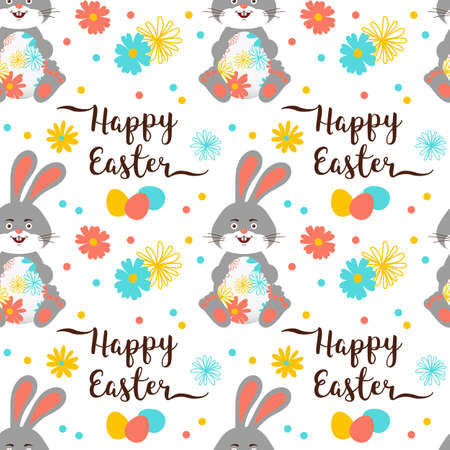 Easter Bunny, Easter pattern seamless. Easter rabbit wallpaper. Trendy easter lettering with a bunny icon and egg. Vector pattern