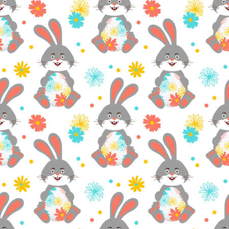 Easter Bunny, Easter pattern seamless. Easter rabbit wallpaper. All objects are editable, Vector pattern Illusztráció