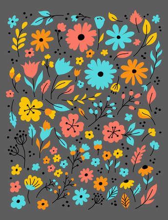 Doodle flowers, Hand drawn floral set. Flower doodle sketch on a dark background. Vector illustration