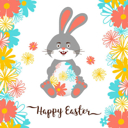 Easter Bunny, Happy Easter Card. All objects are editable, White background. Vector illustration