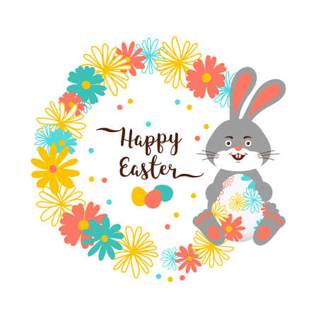 Easter Bunny, Happy Easter Card. Cute bunny holding an easter egg, a wreath of flowers, Trendy easter lettering. Vector card