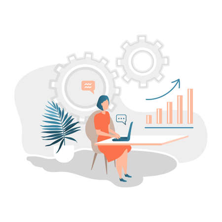Business woman working on the computer in the office. Infographics, Scale analytics, Business process. Vector illustration flat design style Ilustrace