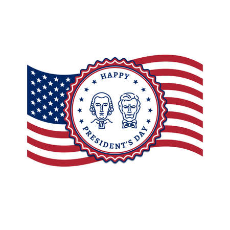Presidents Day card, USA flag and Presidents Day stamp icon. American Presidents - George Washington and Abraham Lincoln. Vector flat illustration