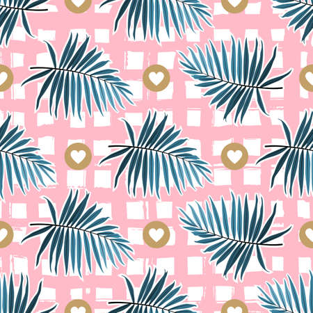Tropical leaves seamless pattern, Green palm fronds on a pink checkered background. Striped tropical backdrop, Vector illustration