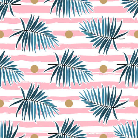 Tropical leaves seamless pattern, Green palm fronds on a pink striped background. Summer tropical backdrop, Vector illustration