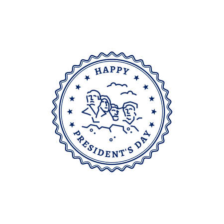 Happy Presidents Day stamp icon. American Presidents Mount Rushmore National Monument USA. Vector illustration