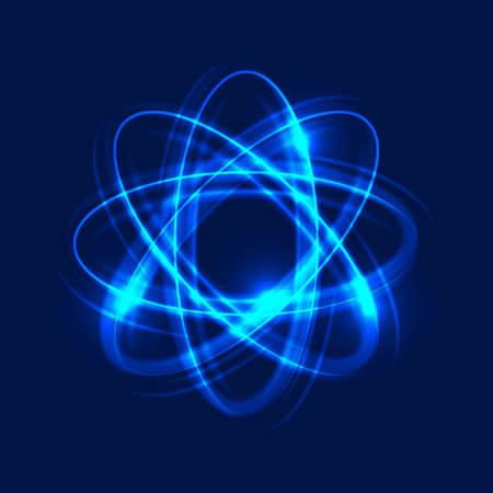Átomo brillante sobre fondo azul, fondo claro abstracto. Círculos de movimiento ligero. Efecto de rastro de remolino. Ilustración vectorial