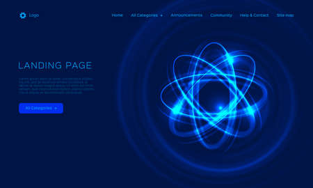 Abstract atom from particles, abstract light background. Blue shining cosmic atom model. Trend gradient design for Web page, mobile app or landing page template. Vector Eps10