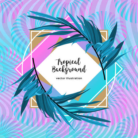 Luxury Holographic neon background. Tropical leaves floral frame. Iridescent soft backdrop. Futuristic shape geometric pattern.
