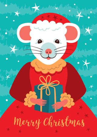 Cute rat character Christmas Card. Cartoon mouse holds a gift. Happy New Year 2020 poster. Cute little fairy rat. Vector illustration Illusztráció