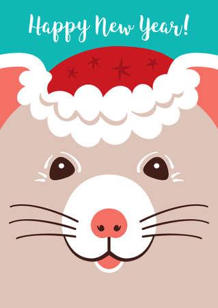 Christmas cartoon Rat, Greeting cards Merry Christmas and New Year 2020. Cute little mouse Holiday card. Vector illustration Illusztráció