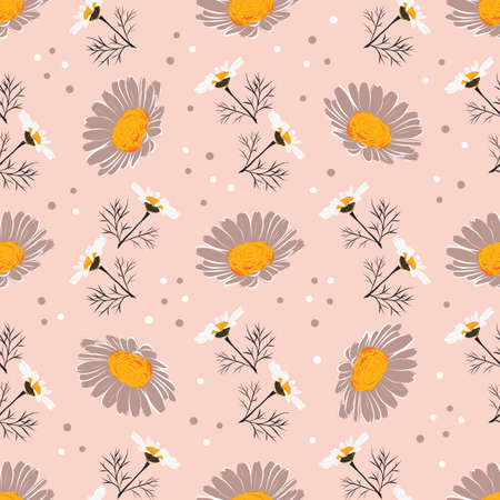 Daisy seamless pattern, Chamomile background. Flowers and leaves of daisies on a gentle pink background. Vector pattern Illusztráció